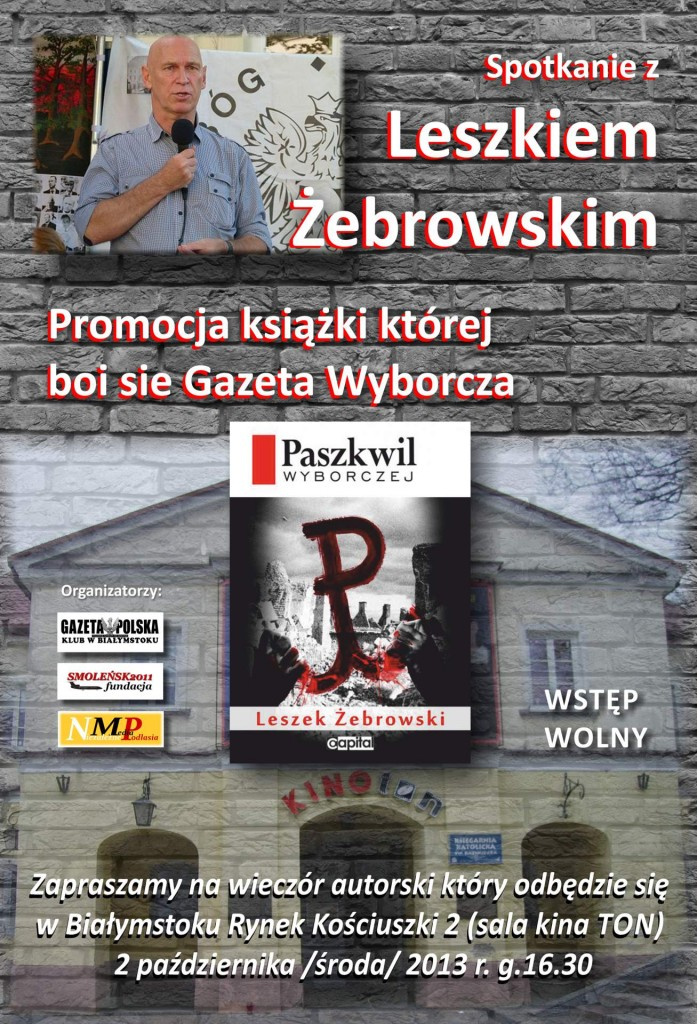 Plakat - Zaproszenie na spotkanie z Leszkiem Żebrowskim wersja 4