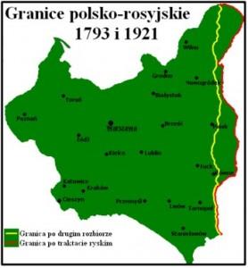 Powyższa mapka przedstawia granice wschodnie Polski po Pokoju Ryskim