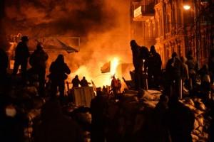 Protestujący na ulicach Kijowa. 25.01.2014 Fot. S. Supinsky / AFP