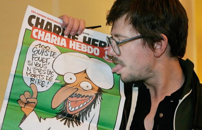Klaun żydowski z Charlie Hebdo, zdjęcie sprzed ataku na biuro, w czasie którego podobno został zabity.