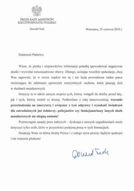 Pismo od ówczesnego premiera rządu – Donalda Tuska